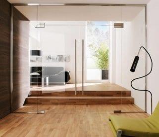 Стеклянные маятниковые двери для дома
