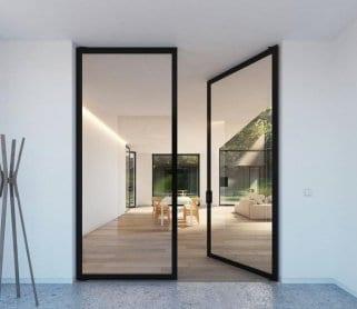 Раздвижные алюминиевые двери в раме