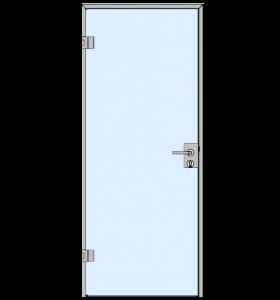 Одностворчатые стеклянные распашные двери больших и малых размеров