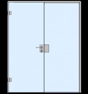Одностворчатые распашные стеклянные двери с боковым экраном