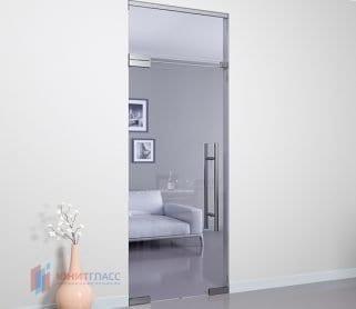 Межкомнатные стеклянные маятниковые двери с верхним экраном