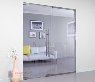 Одностворчатые межкомнатные стеклянные маятниковые двери с боковым экраном
