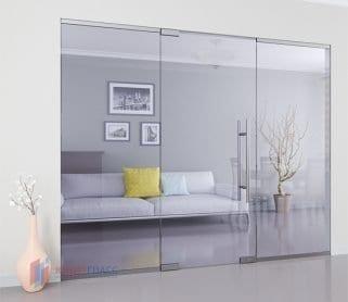 Одностворчатые межкомнатные стеклянные маятниковые двери с боковыми экранами