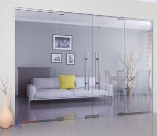 Двустворчатые межкомнатные стеклянные маятниковые двери с боковыми экранами
