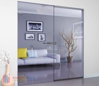 Одностворчатые стеклянные межкомнатные двери с боковым экраном