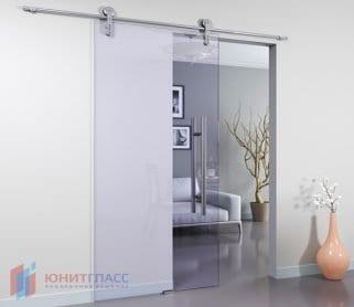 Раздвижные одностворчатые стеклянные двери (открытый механизм)