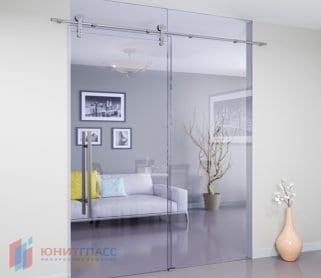 Раздвижные стеклянные двери с экранами (открытый механизм)