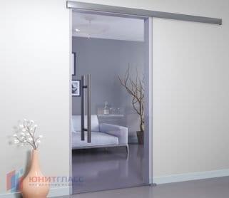 Раздвижные одностворчатые стеклянные двери (закрытый механизм)