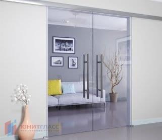 Двустворчатые раздвижные стеклянные двери (закрытый механизм)