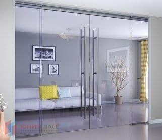 Двустворчатые раздвижные стеклянные двери с экранами (закрытый механизм)