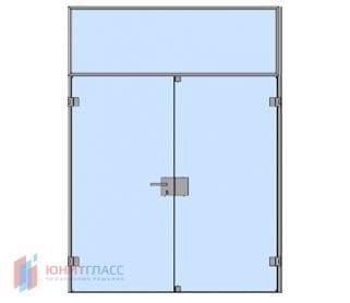 Одностворчатые распашные стеклянные двери с боковым и верхним экранами