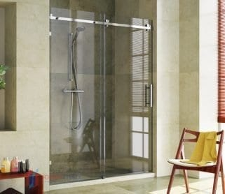 Стеклянные раздвижные душевые двери одностворчатые
