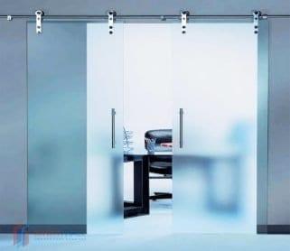 Двустворчатые раздвижные стеклянные двери (открытый механизм)