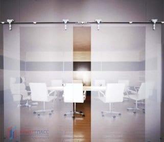 Двустворчатые раздвижные стеклянные двери с верхним экраном
