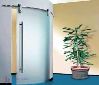 Радиусные раздвижные стеклянные двери (открытый механизм)