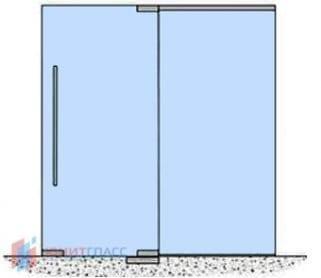 Стеклянные одностворчатые маятниковые двери с боковым экраном