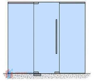 Стеклянные одностворчатые маятниковые двери с боковыми экранами