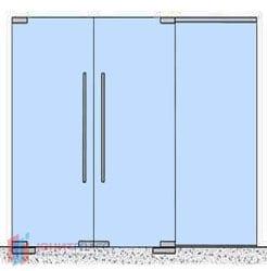 Двустворчатые офисные маятниковые двери с боковым экраном