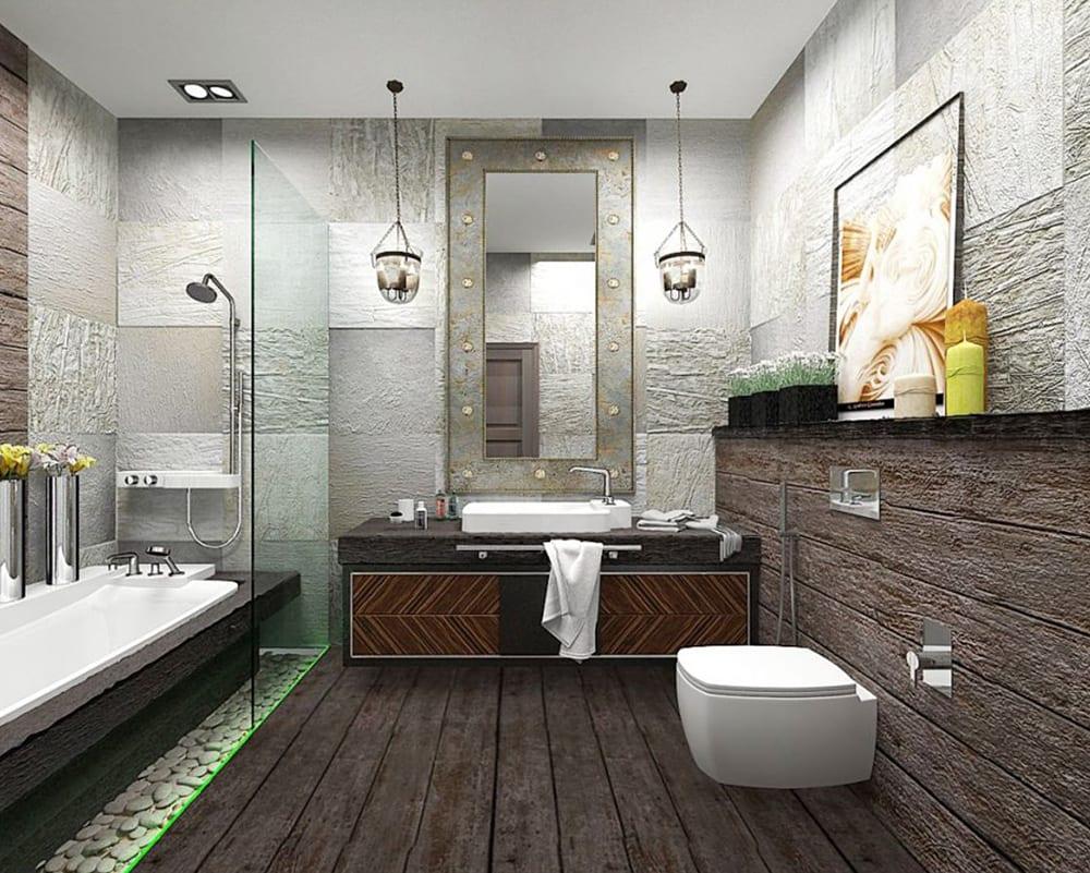 Оформление ванной комнаты в стиле лофт