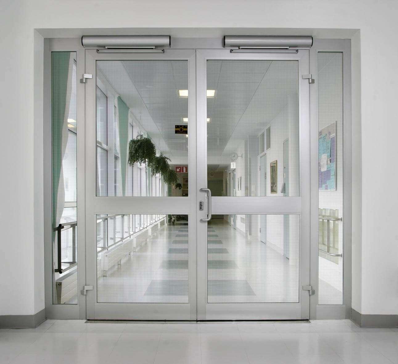Входные двустворчатые двери из стекла