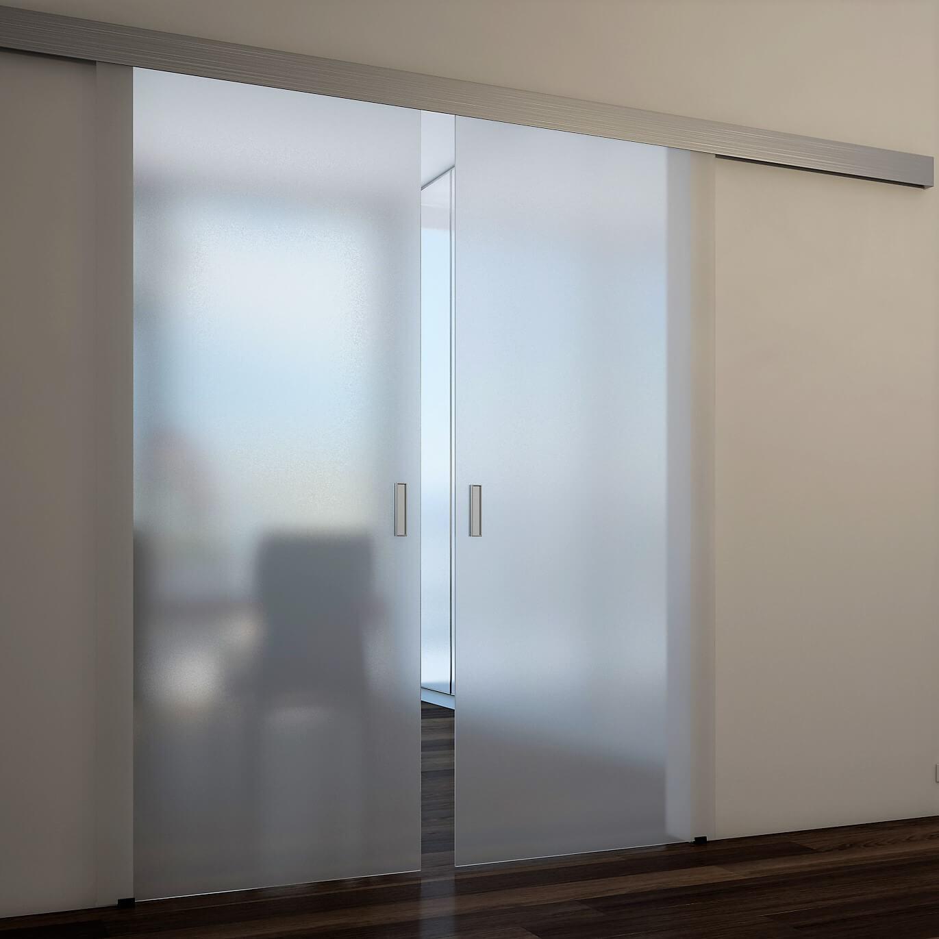 Раздвижные перегородки из матового стекла