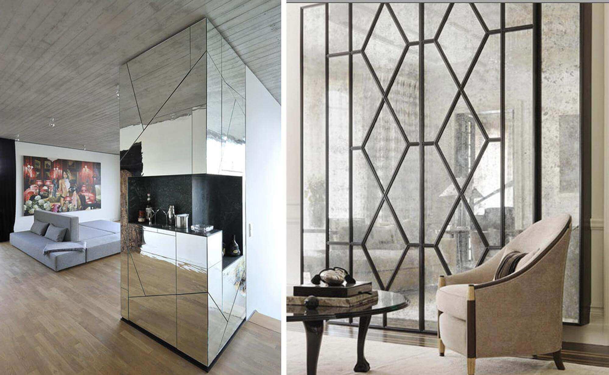 Зеркальные стены фото