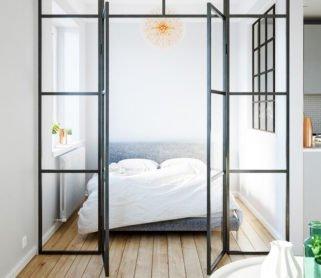 Стеклянные двери для спальни