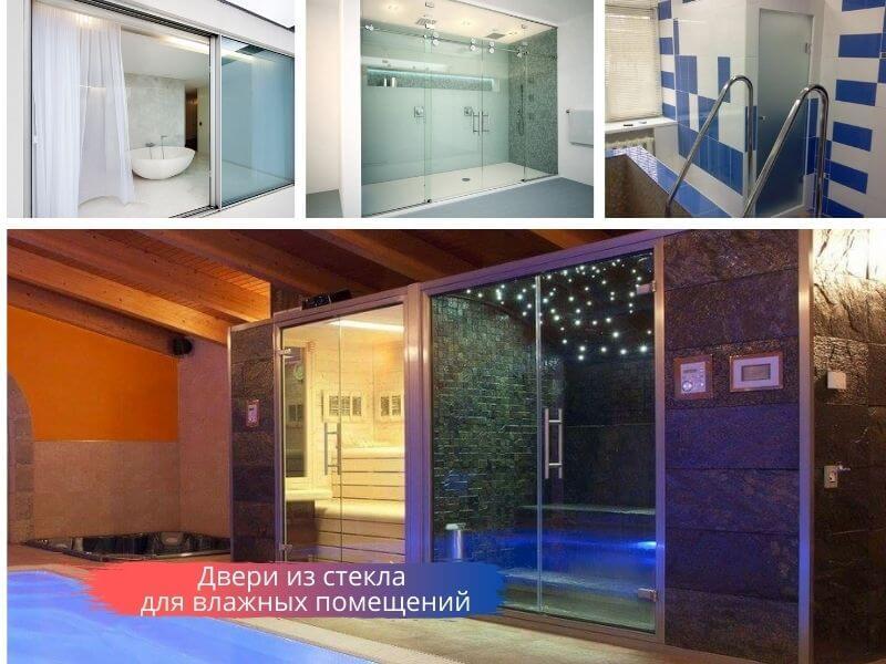 Двери из стекла для влажных помещений: аквапарка, сауны, бассейна, ванной комнаты