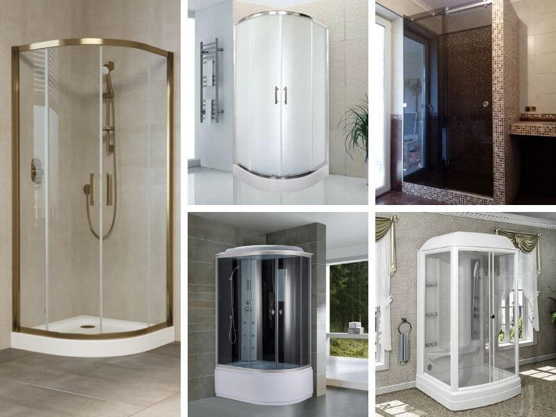 Прямоугольные и квадратные пристенные душевые кабины из матового, тонированного и прозрачного стекла с раздвижными и распашными дверями в ванную любого размера под заказ.