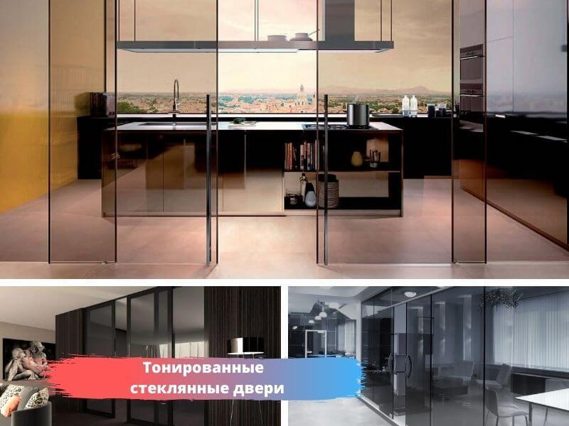 Тонированные стеклянные двери в наличии и под заказ