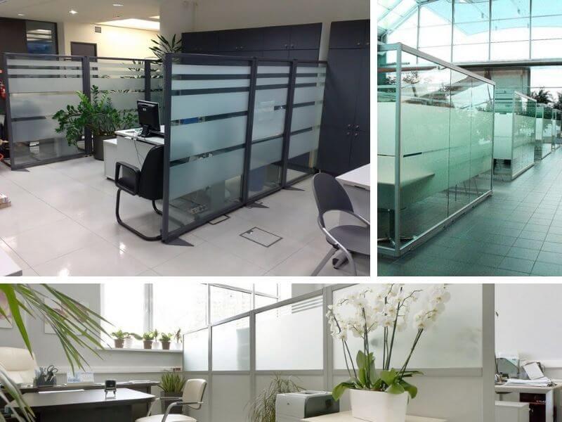 Мобильные стеклянные офисные перегородки из металлического купить в Москве