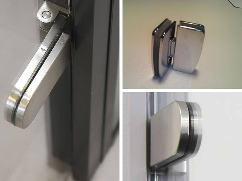 Стеклянные двери с шарнирными петлями
