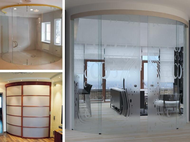 Стеклянные радиусные, полукруглые двери интернет-магазин Юнит-Гласс Москва
