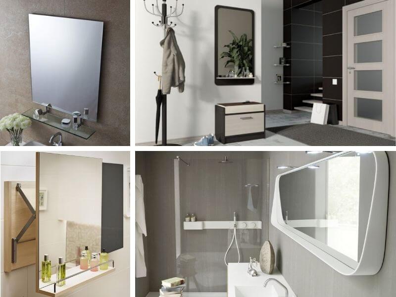 Зеркало с металлической, деревянной, пластмассовой, стеклянной полкой